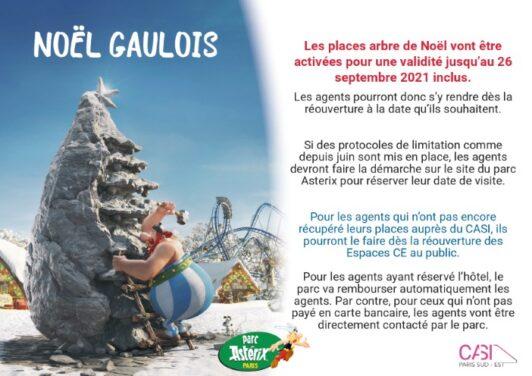 Arbre de Noël CASI 2021 : Report de la visite au parc Astérix (date au choix)