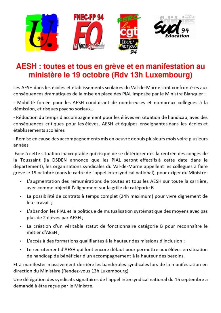 AESH : toutes et tous en grève et en manifestation au ministère le 19 octobre !(RDV 13h Luxembourg)