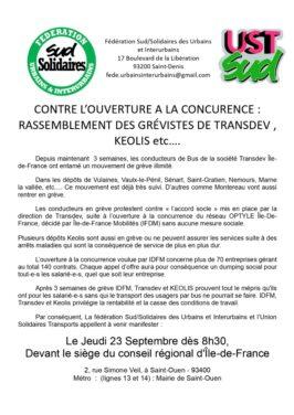 Contre l'ouverture à la concurence : rassemblement des grévistes de TRANSDEV, KEOLIS, etc…