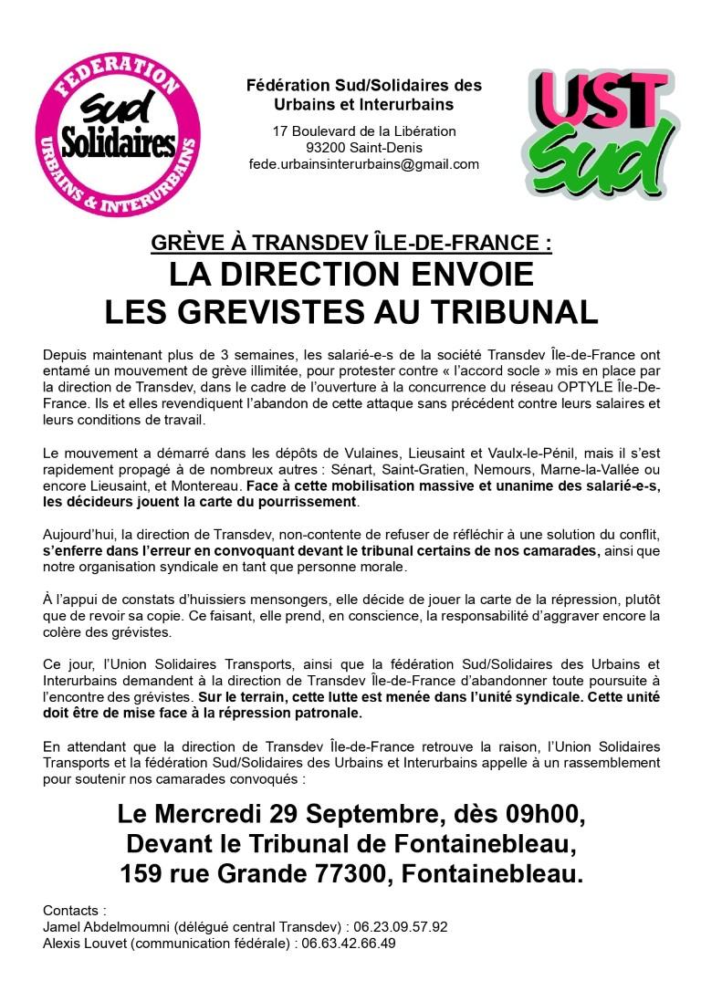Grève à TRANSDEV Ile de France : La direction envoie les grévistes au tribunal