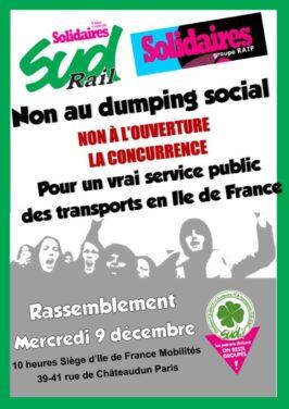 Rassemblement SUD-Rail-Solidaires RATP – CGT – FO devant le siège d'IdF Mobilités le 9 Décembre
