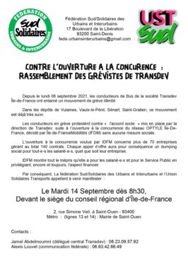 Contre l'ouverture à la concurence : rassemblement des grevistes de Transdev