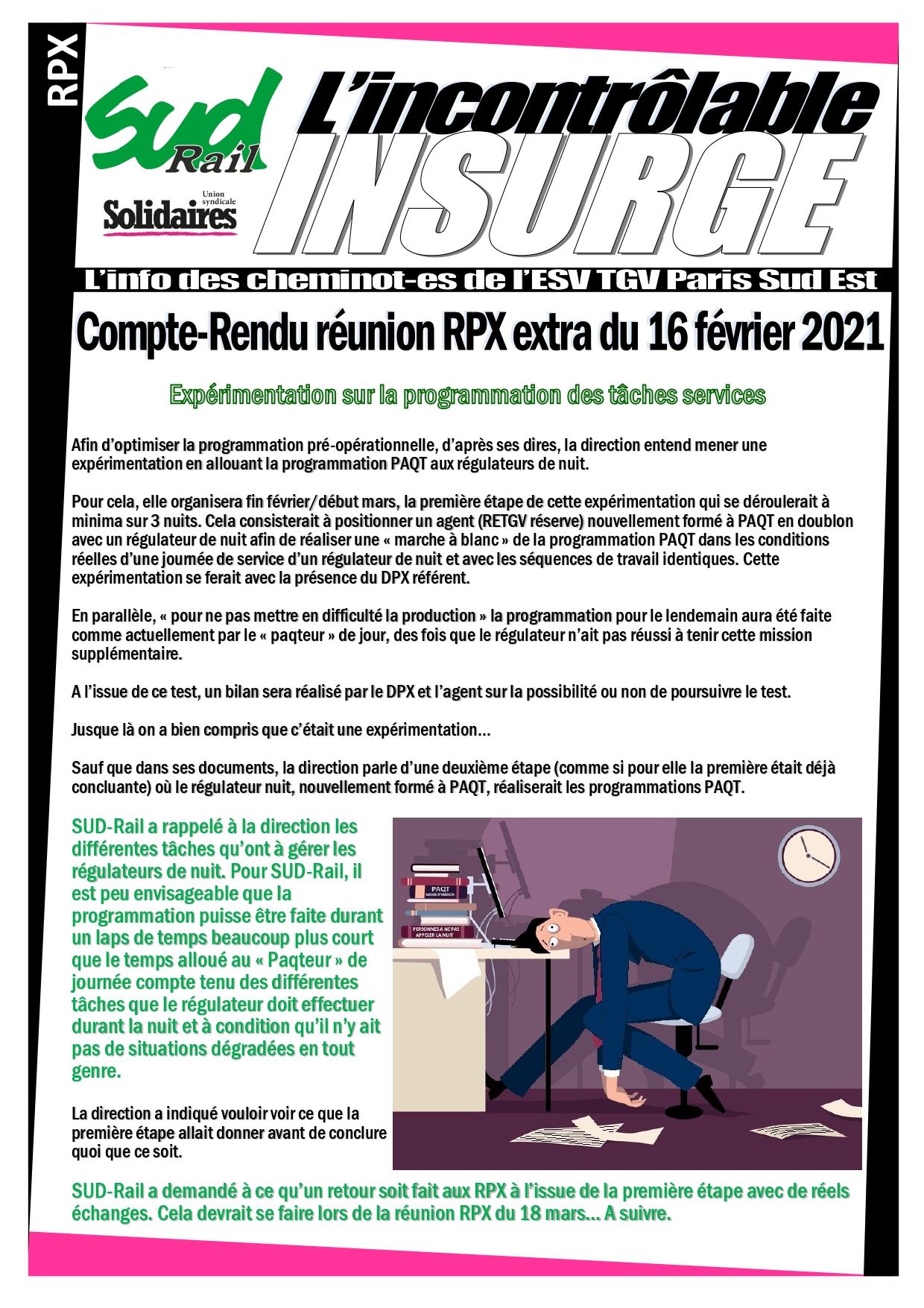 Réunion RPX extra du 16 février 2021