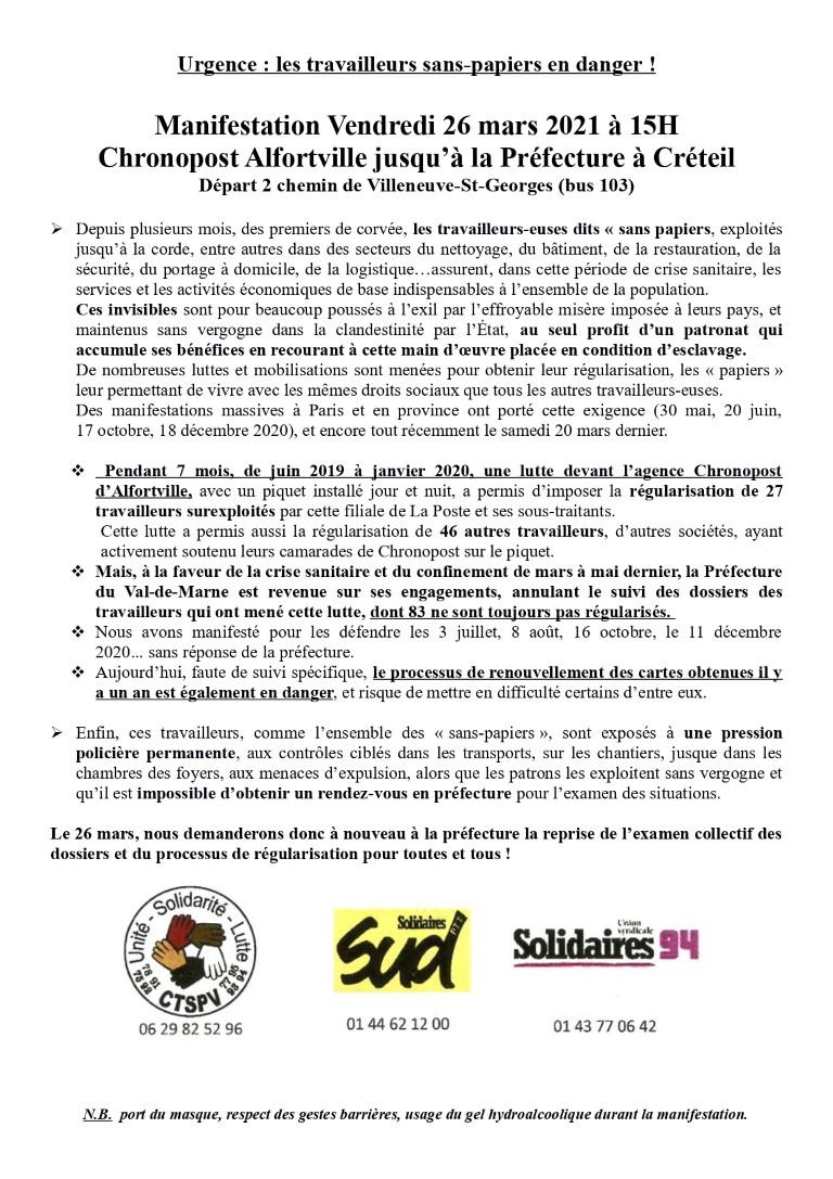 Urgence : les travailleurs sans-papiers en danger !