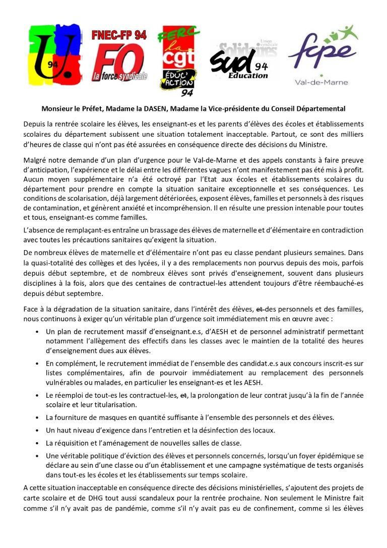 DECLARATION COMMUNE au prefet, au directeur académique et a la vice présidente du conseil départemental du Val-de-Marne