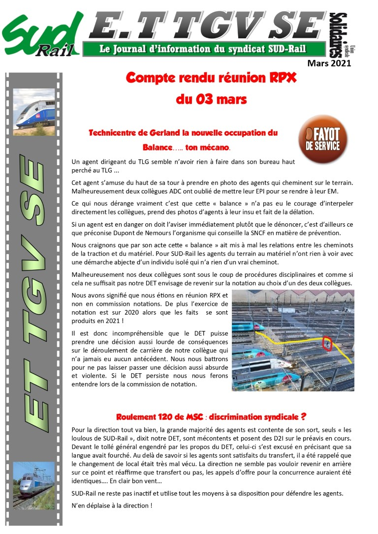 E.T TGV SE : Compte rendu RPX du 3 mars
