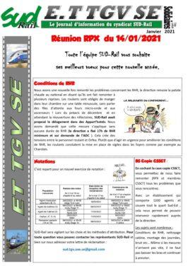 ET TGV SE : Réunion RPX du 14 janvier 2021