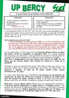 UP Bercy : prévisions des prochaines école TA sur TB 2021-2022