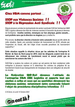 Chez H&M comme partout… Stop aux violences sexistes ! Stop à la répression anti-syndicale