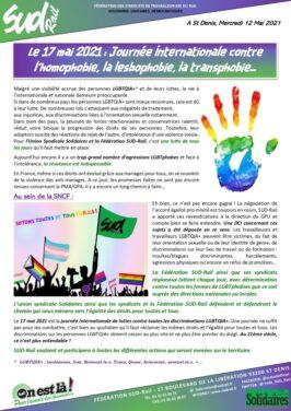17 mai 2021 : journée internationale contre l'homophobie, la lesbophobie, la transphobie