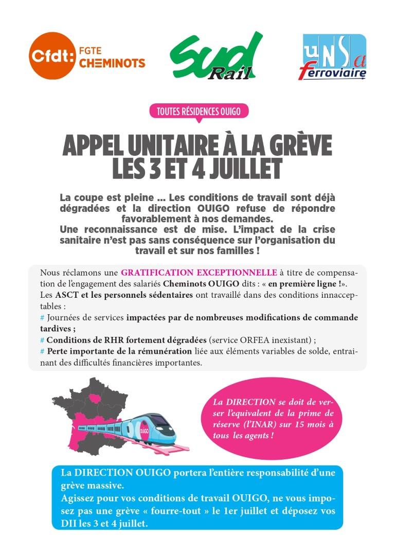 Appel unitaire à la grève chez OUIGO les 2 et 3 juillet