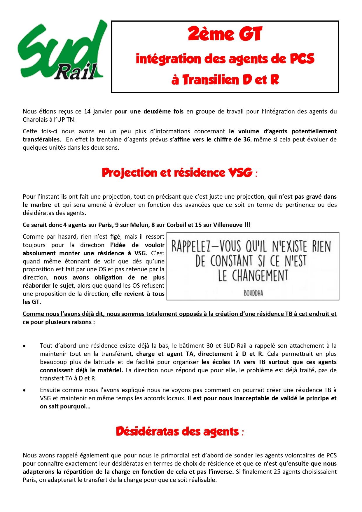 2eme GT integration des agents de PCS à Transilien D&R