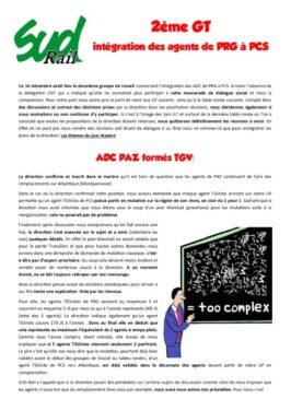 2eme groupe de travail intégration des agents de PRG à PCS