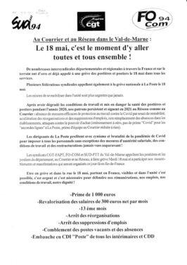 Appel à la grève le 18 mai à la poste