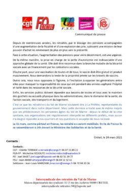 Communiqué de l'intersyndicale des retraités du Val de Marne