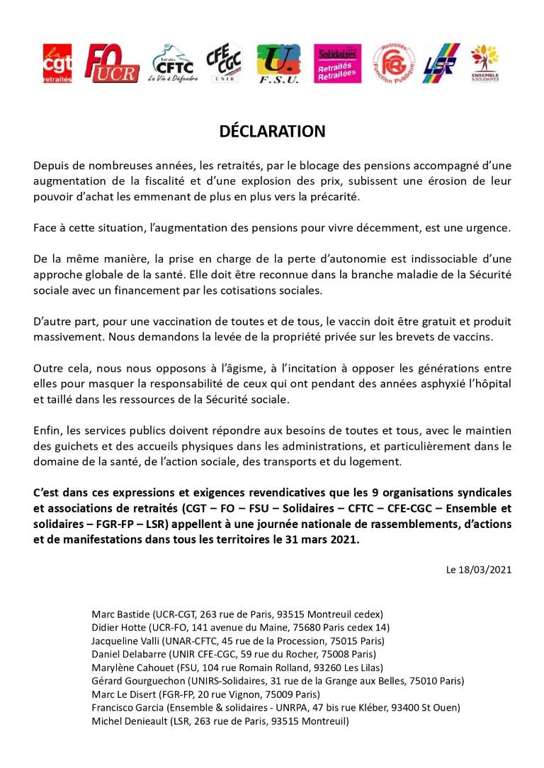 Interfédérale Retraités : appel à manifestaition le 31 mars 2021
