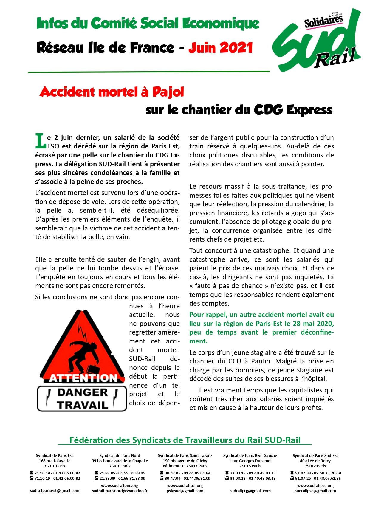 Accident mortel à Pajol sur le chantier du CDG Express