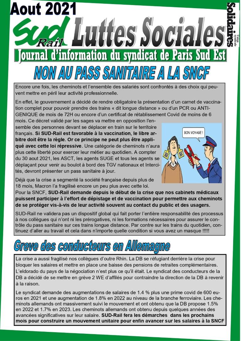 Non au PASS sanitaire à la SNCF, Grève des conducteurs en Aleemagne et autres infos