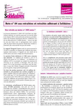 Note N°84 de l'Union Nationale Interprofessionelle des Retraité-e-s Solidaires