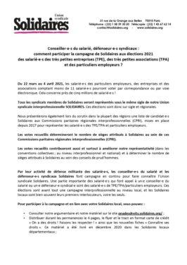 Comment participer à la campagne Solidaires aux élections TPE/TPA 2021
