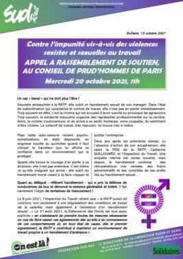 Contre l'impunité des violences sexistes et sexuelles au travail : Rassemblement devant les Prud'hommes de Paris le 20 octobre à 11h