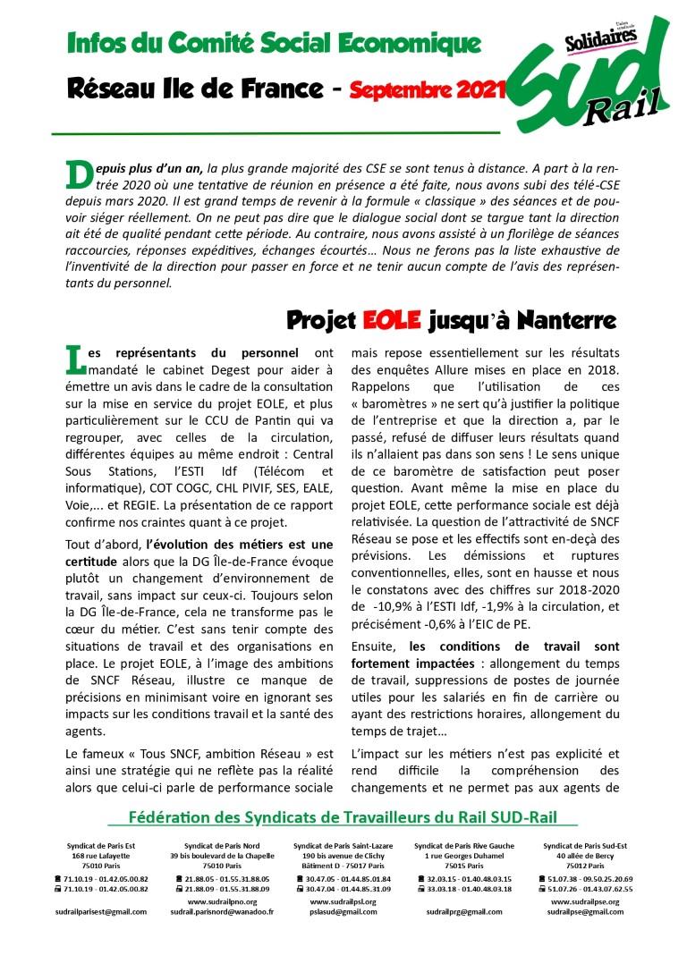 Dénonciations des horaires de travail à Paris Est et autres infos du CSE Réesau Ile de France