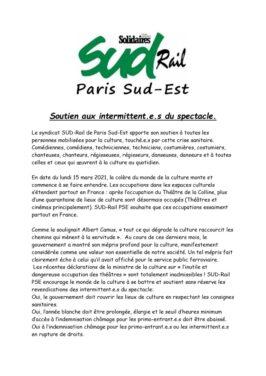 Communiqué : SUD-Rail PSE soutient les intermittents du spectacle