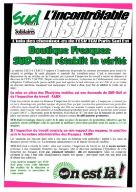 Boutique Fresques: SUD-Rail rétablit la vérité