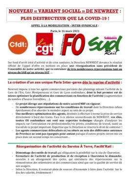 """Rassemblement inter-syndical jeudi 25 mars à Montparnasse contre le """"variant social"""" à NEWREST"""