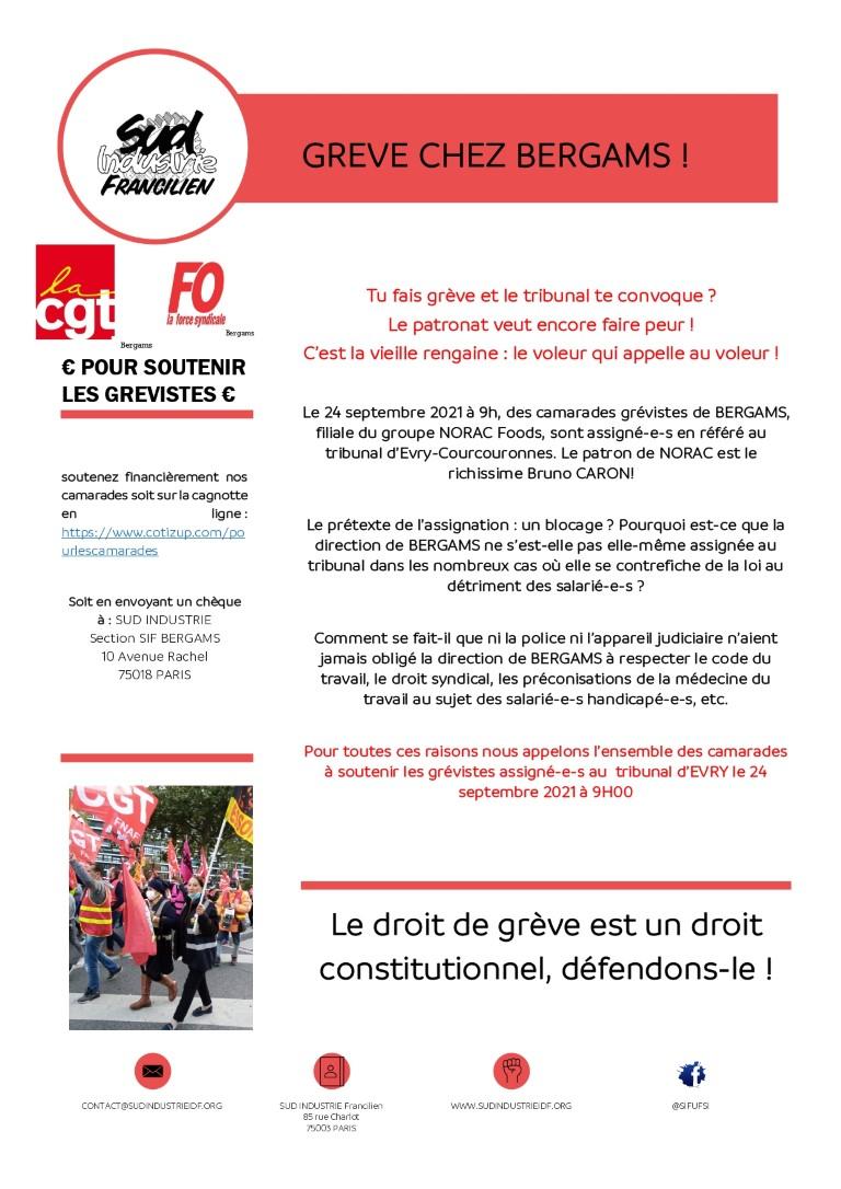 Grève chez Bergams ! Rassemblement devant le tribunal d'Evry le 24 septembre à 9h00
