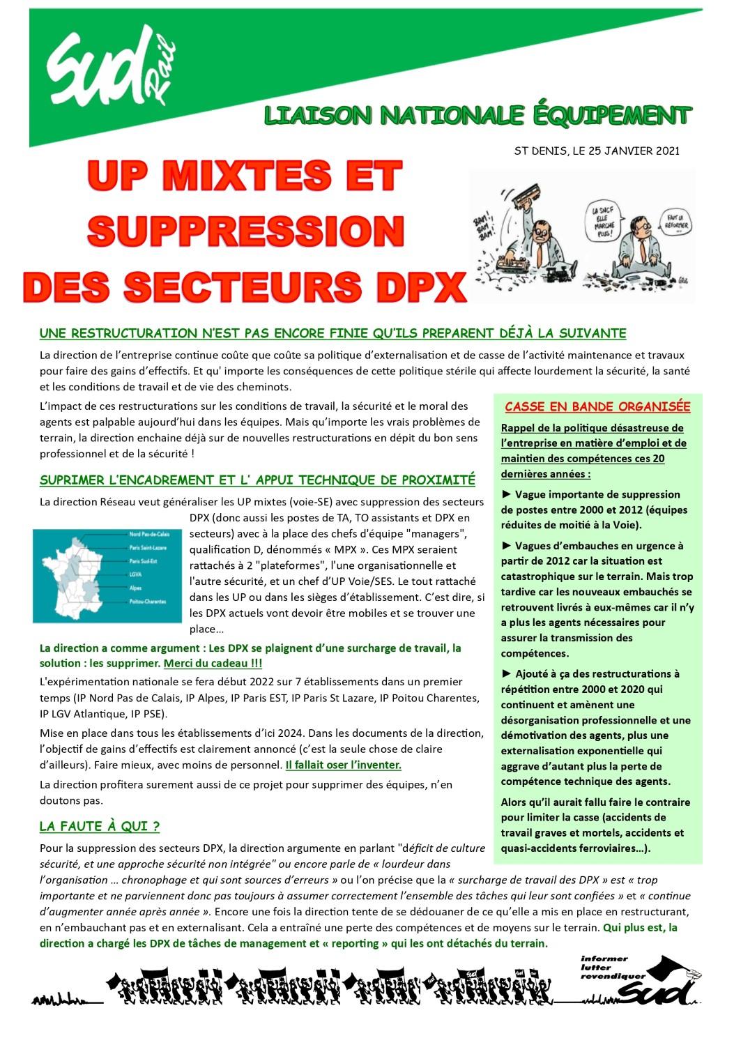 Suppression des secteurs DPX à l'Equipement