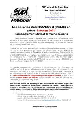Les salariés de SMOVENGO (VELIB) engrève Le 9 mars ! Rassemblement devant la mairie de paris