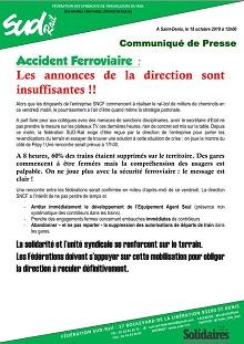 Accident Ferroviaire :  Les annonces de la direction sont  insuffisantes !!