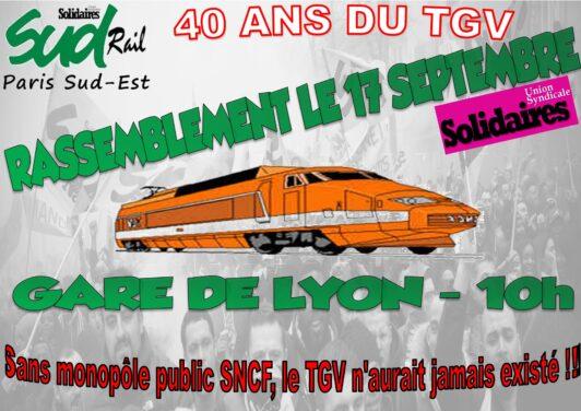 Affiche Rassemblement 40 ans du TGV du 17 Novembre 2021 Gare de Lyon