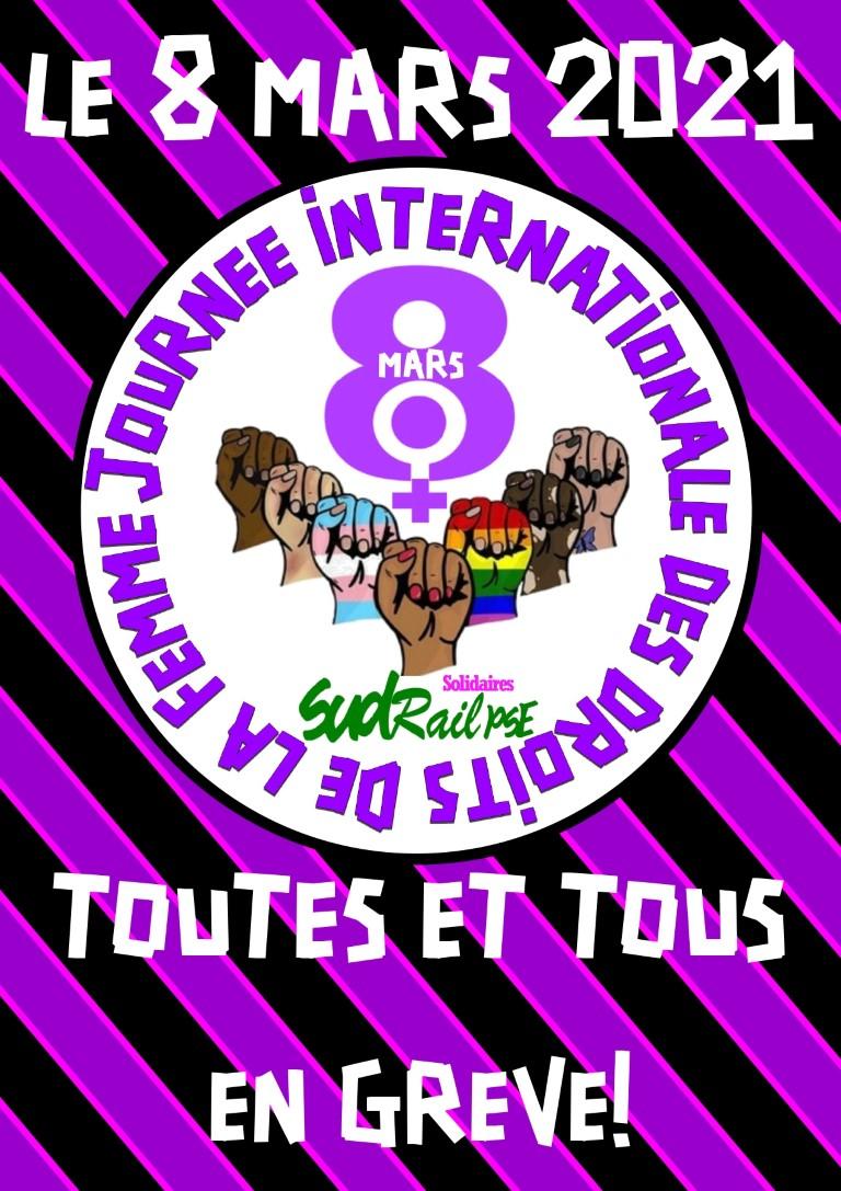 JOURNéE INTERNATIONALE DES DROUITS DE LA FEMME : TOUS EN GREVE LE 8 MARS !