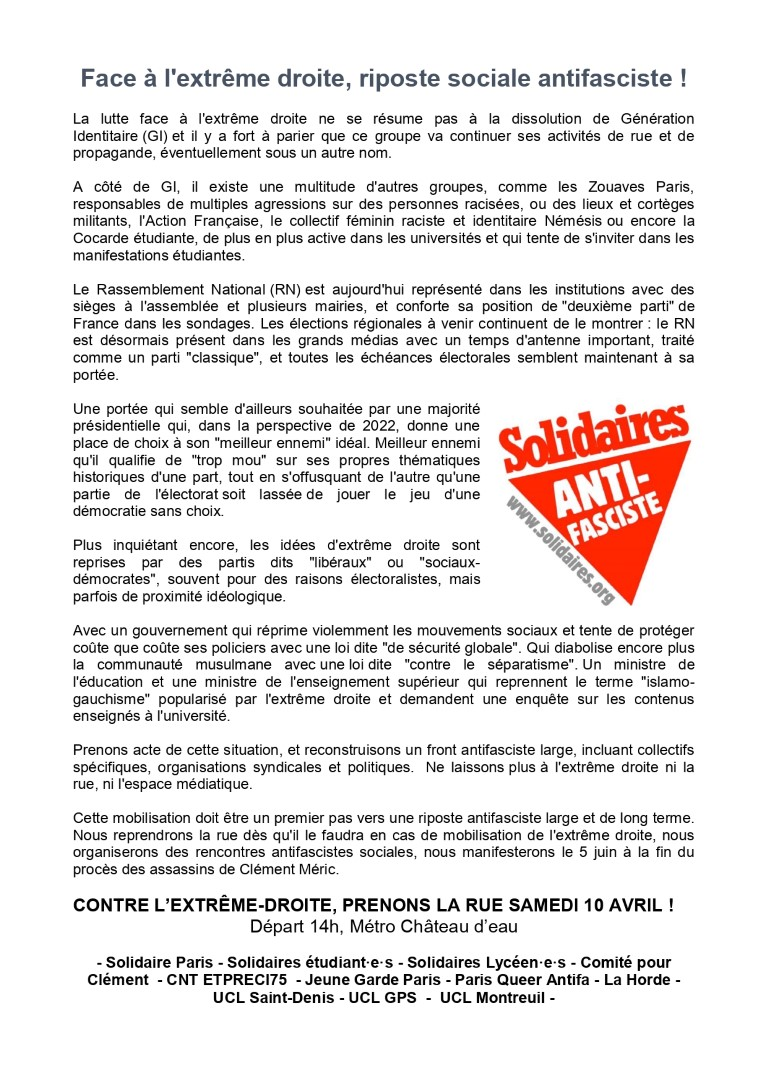 appel manif antifasciste 10 avril
