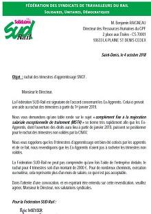 Rachat des trimestres d'apprentissage SNCF.