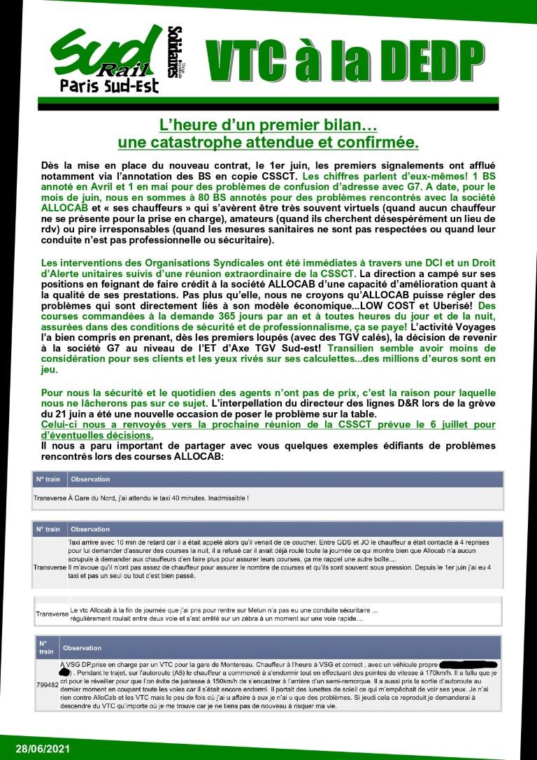 Contrat VTC à la DEDP