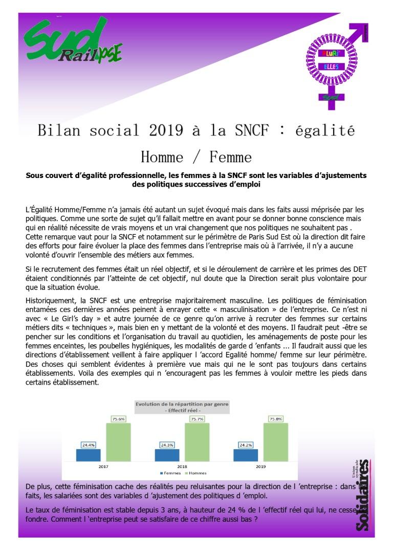 Sous couvert d'égalité professionnelle, les femmes à la SNCF sont les variables d' ajustement des ploitiques successives d'emploi