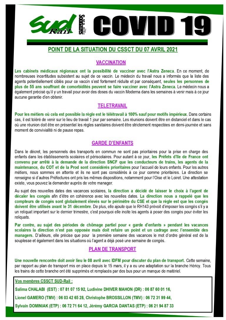 POINT DE LA SITUATION DU CSSCT DU 07 AVRIL 2021