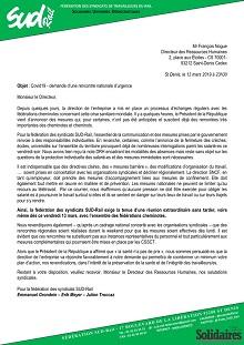 Covid19 – demande d'une rencontre nationale d'urgence