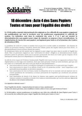 18 décembre : Acte 4 des sans-papiers, toutes et tous pour l'égalité des droits !
