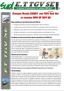 Compte Rendu CSSCT axe TGV Sud-Est et réunion RPX ET TGV SE