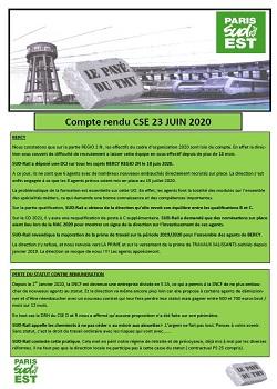TMV : Compte rendu CSE 23 JUIN 2020