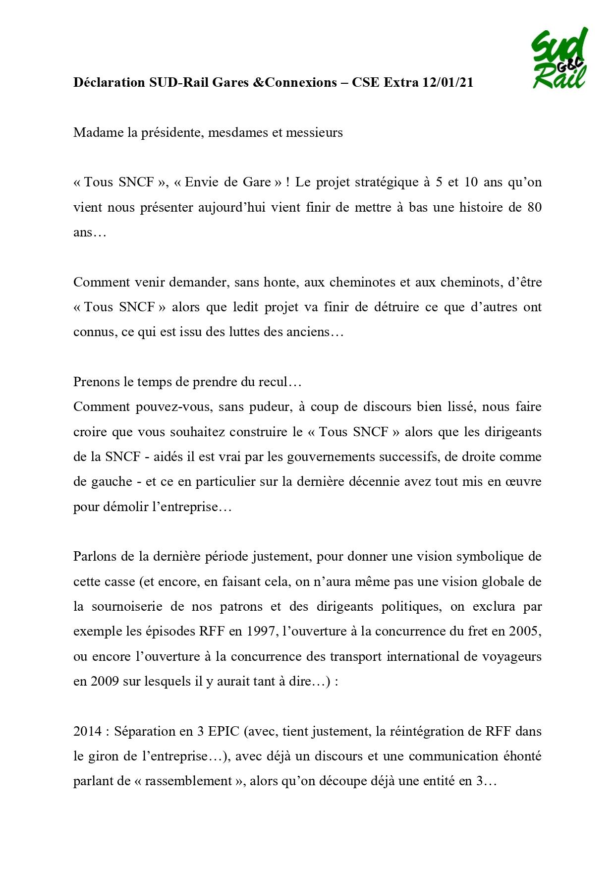 """DECLARATION SUD RAIL au cse extra gares & connexions du 12 01 2021 """"TOUS sncf"""""""