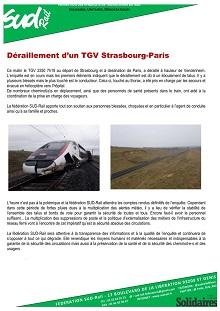 Déraillement d'un TGV Strasbourg-Paris