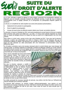 Suite du droit d'alerte Régio2N