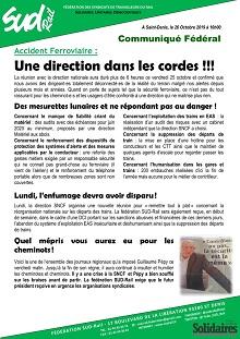 Accident Ferroviaire :  Une direction dans les cordes !!!
