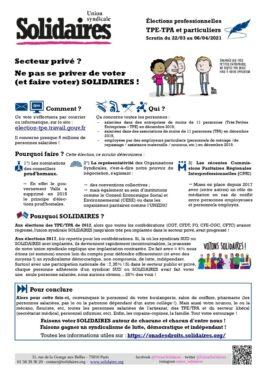 Comment et pourquoi voter SUD-Solidairexs aux élections TPE-TPA du 22 mars au 6 avril 2021 ?