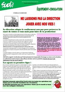 Covid19 Equipement-Circulation : Ne laissons pas la direction jouer avec nos vies !